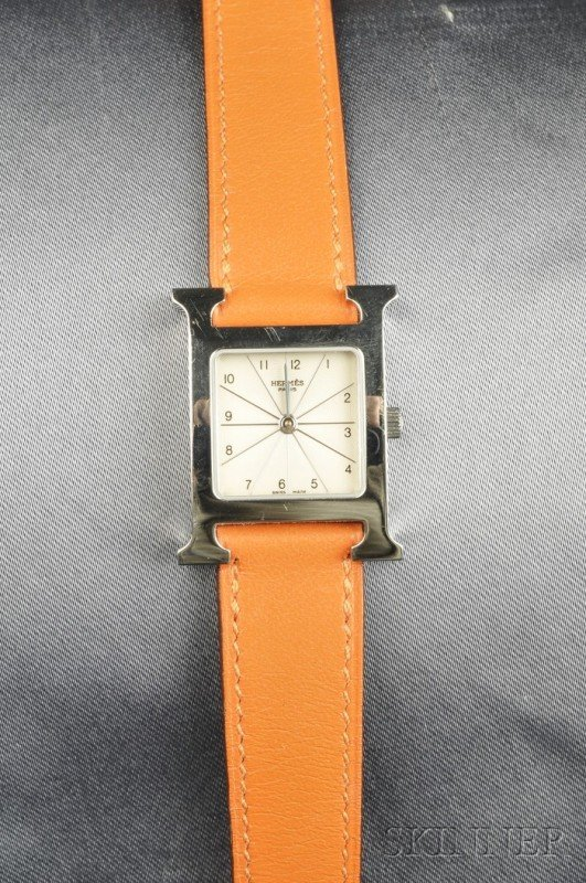 "3: Stainless Steel ""H-our"" Wristwatch, Hermes, the silv"