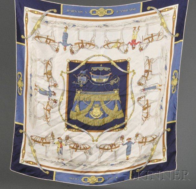 "4: Three Silk Scarves, Hermes, ""Harnais a l'Angliase"" b"