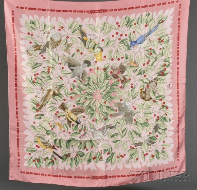 "6: Two Silk Scarves, Hermes, ""Les Merises"" by Antoine d"