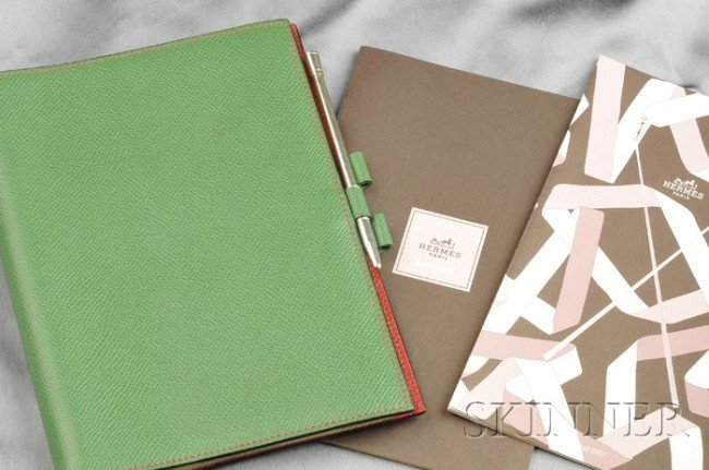 "9: Green Leather ""Globe Trotter"" Agenda, Hermes, interi"