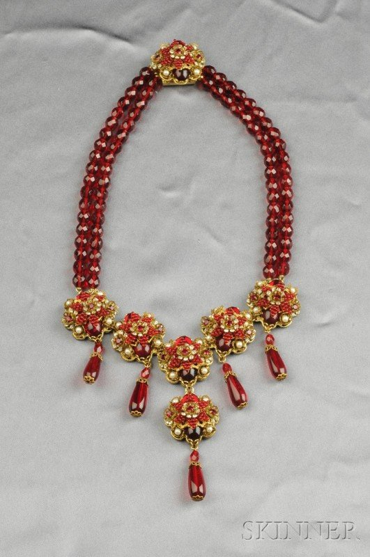 19: Gilded Metal and Colored Glass Bead Necklace, Stanl
