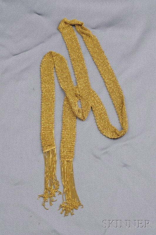 362: 18kt Gold Lariat, Italy, composed of woven mesh li