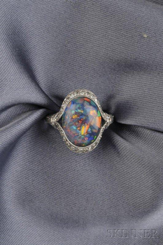 681: Art Deco Platinum, Black Opal, and Diamond Ring, s