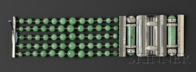 690: Art Deco Platinum, Jade, and Diamond Bracelet, Sea