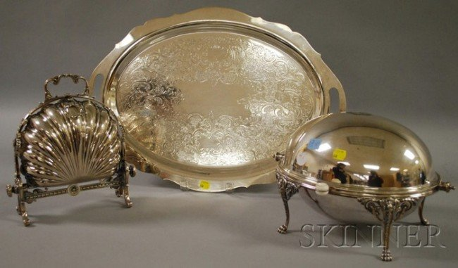 7: Two Covered Silver-plated Serving Dishes and a Towle