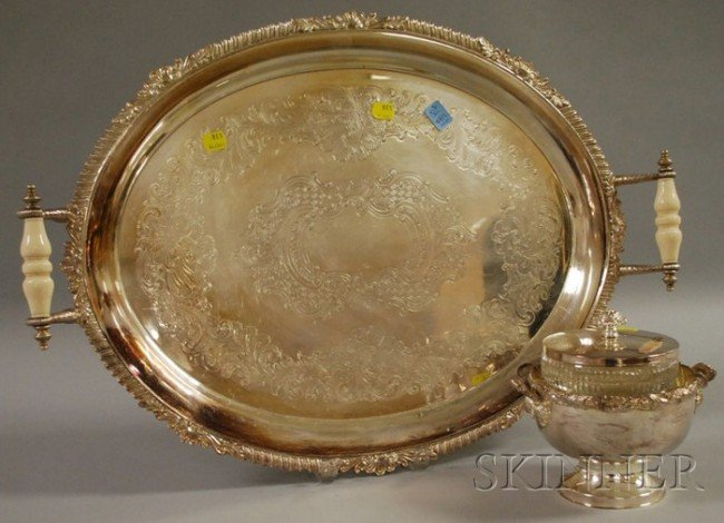 8: Two Silver-plated Serving Items, a handled tray, lg.