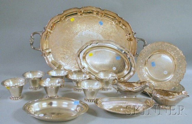 9: Group of Sterling Silver and Silver-plated Tableware