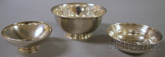 10: Three Tiffany Sterling Silver Bowls, a Revere-style
