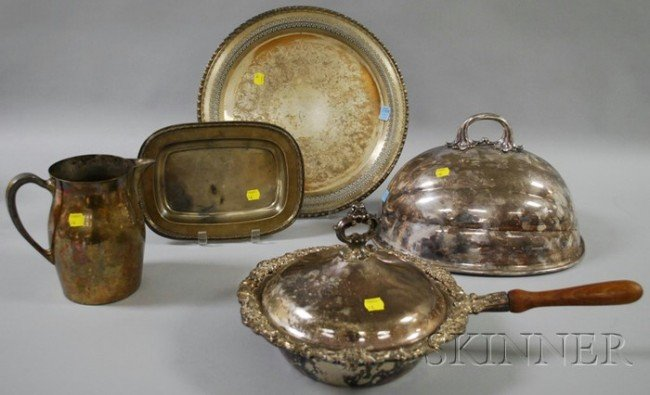 13: One Silver and Four Silver-plated Tableware Items,