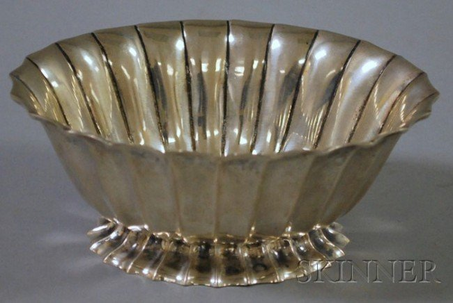 14: Italian Handwrought Silver Bowl, fluted oval form,
