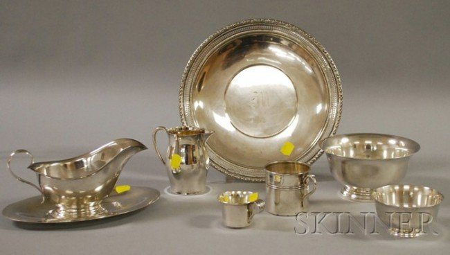 24: Seven Sterling Table Items, a Gorham sterling gravy