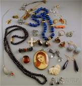 338: Group of Mostly Hardstone Jewelry, including a 14k