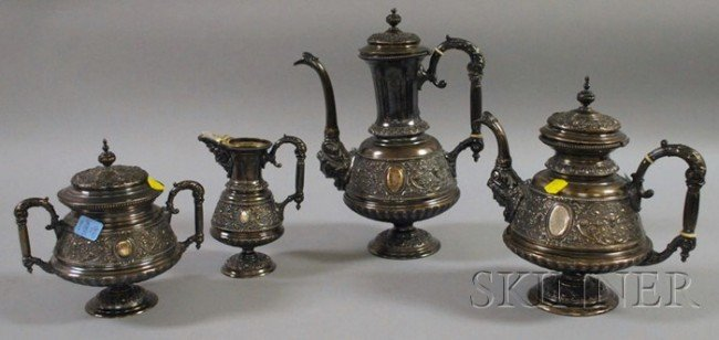 100: Four-piece German .800 Silver Coffee/Tea Service,