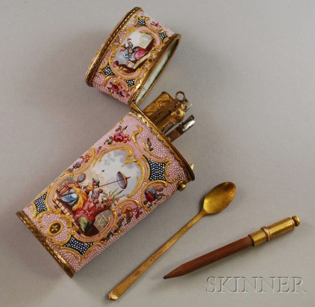 386: Antique Enamel Etui, decorated with a variety of g