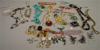 256 Group of Crystal and Costume Jewelry including Na