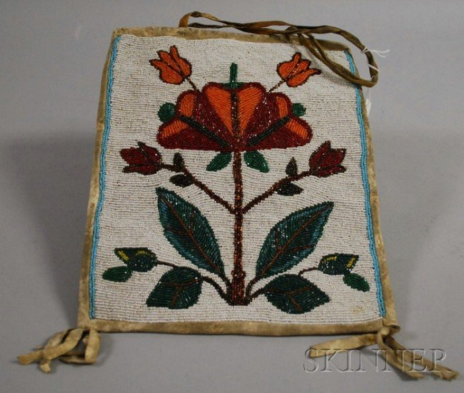 504: Plateau Beaded Hide Floral Bag, ht. 11 1/4 in.