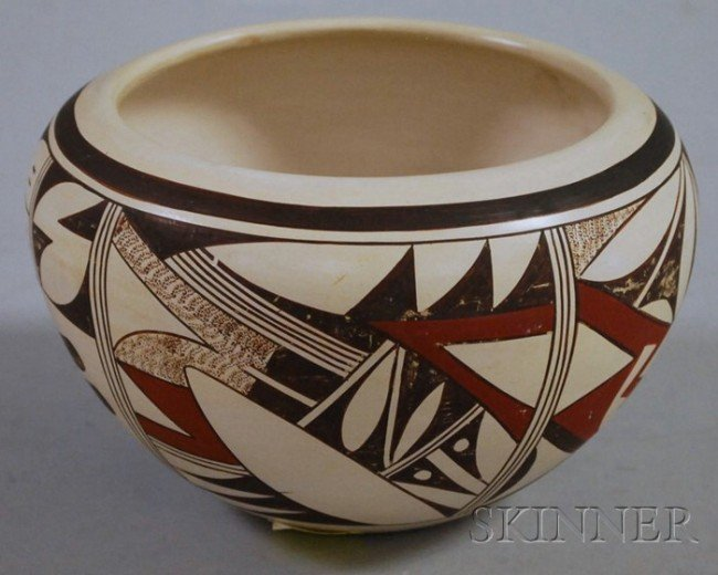 523: Southwest Painted Ceramic Pot, signed with a frog,