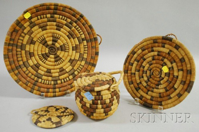551: Six Hopi Basketry Items, three coiled trays, a coi
