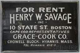 """731: Painted Wood Sign """"For Rent, Henry W. Savage Inc.,"""