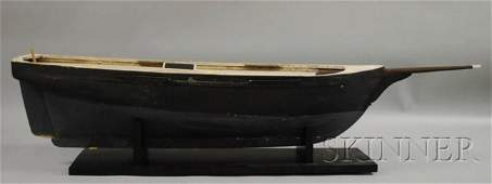 1326 Blackpainted Wood Boat Hull Model overall appro