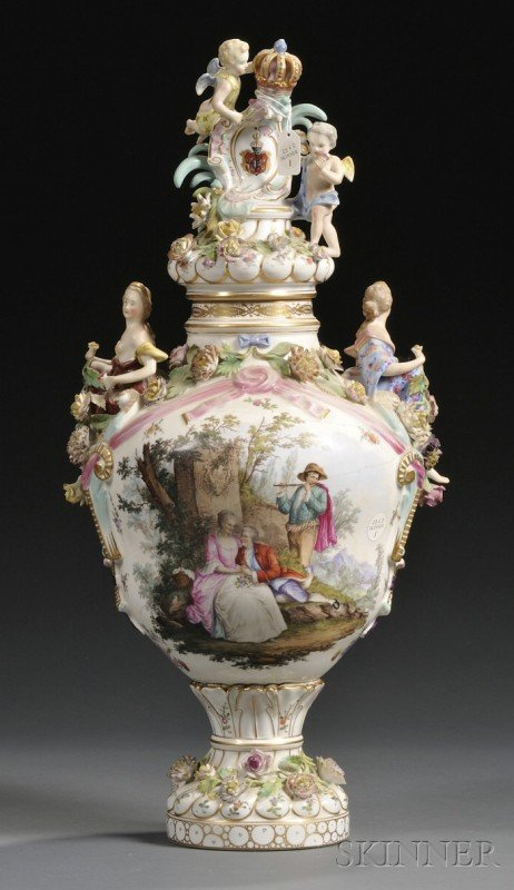1: Carl Thieme Porcelain Vase and Cover, Germany, late