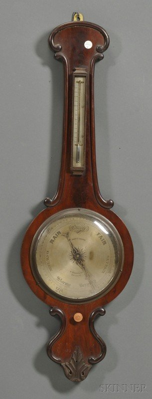 4: Irish Mahogany Banjo Barometer, 19th century, with s