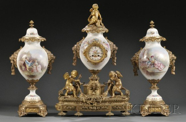 "5: ""Sevres"" Gilt-bronze Mounted Three-piece Clock Garni"