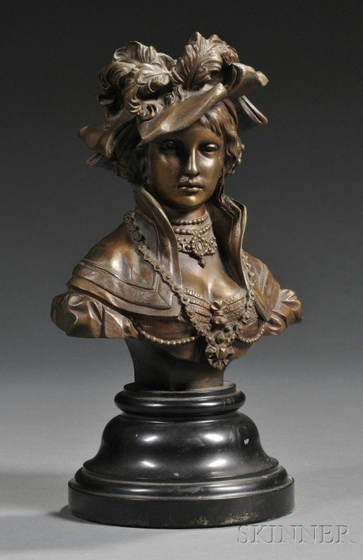 8: H. Schwabe Patinated Bronze Bust of a Lady, c. 1881,