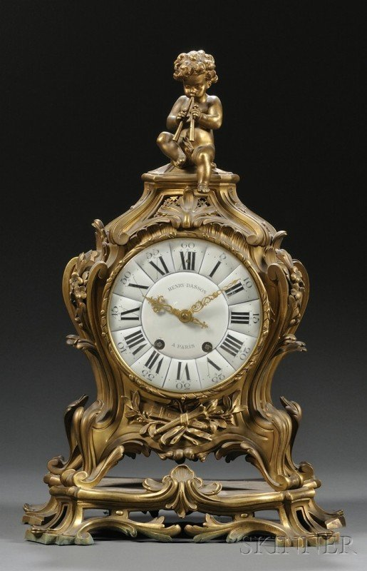 11: Henry Dasson Gilt-bronze Mantel Clock, France, c. 1