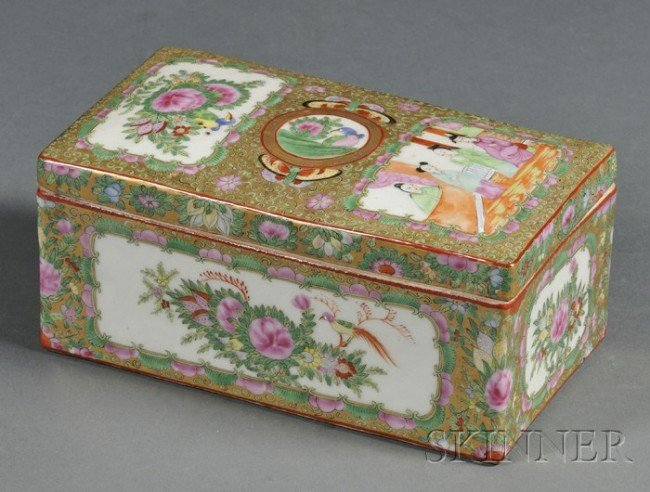 15: Rose Medallion Decorated Porcelain Brush Box and Co