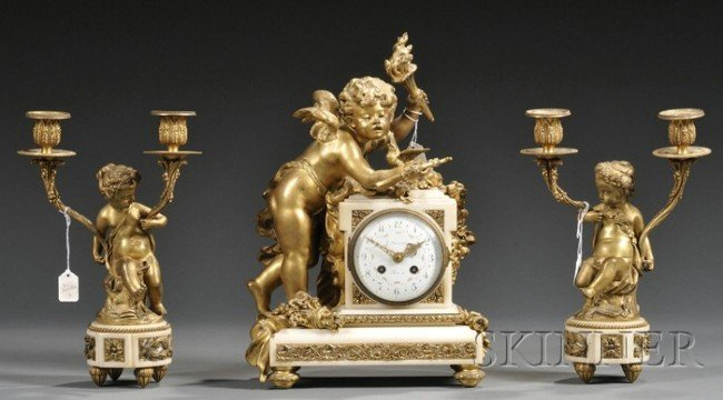 16: Assembled Gilt-bronze and Alabaster Three-piece Clo