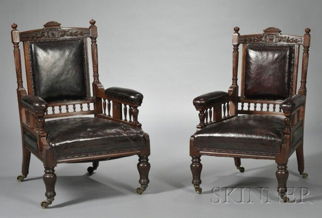 20: Pair of Victorian Leather-upholstered Mahogany Armc