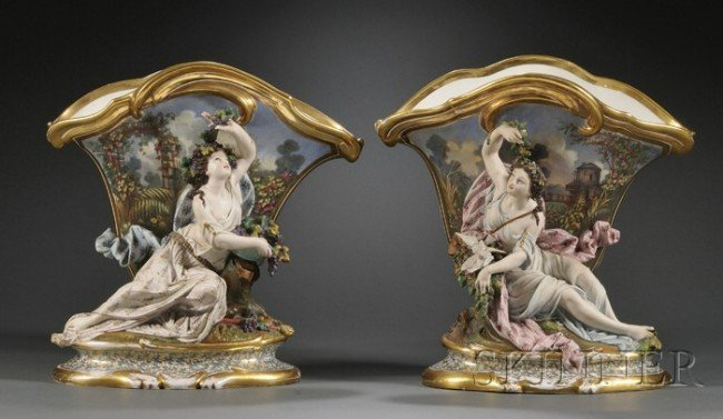 22: Pair of Paris Porcelain Figural Vases, France, 19th