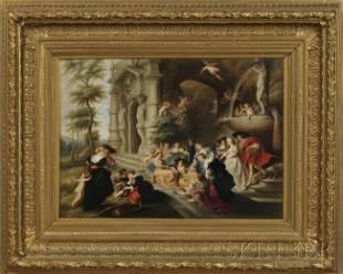 45: KPM Porcelain Plaque Depicting The Garden of Love,