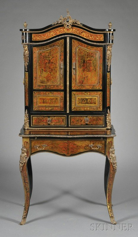 149: Louis XV-style Faux Boulle, Ebonized, and Gilt-met