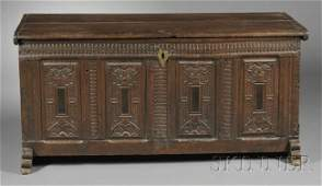 163 Dutch Baroque Carved Oak Blanket Chest earl