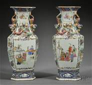 258: Pair of Chinese Porcelain Celadon Vases, 19th cent