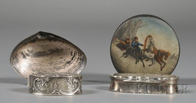 651: Two Snuff Boxes, an English Victorian silver plate
