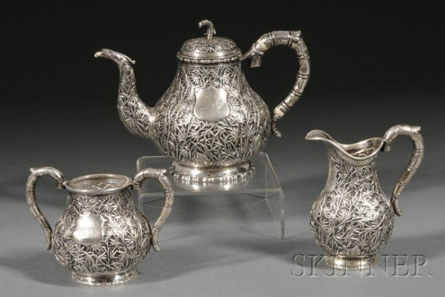 766: Three Piece Chinese Export Silver Tete-a-tete Tea