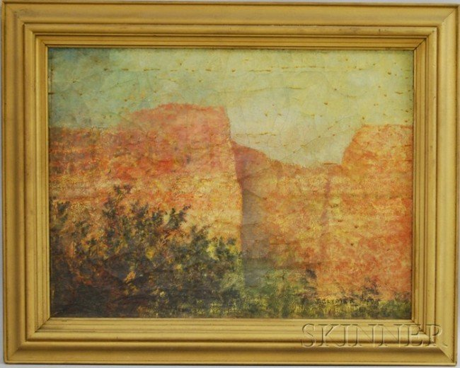 4: American School, 20th Century Red Cliffs. Signed and