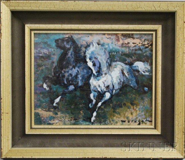 11: American School, 20th Century Two Running Horses. S