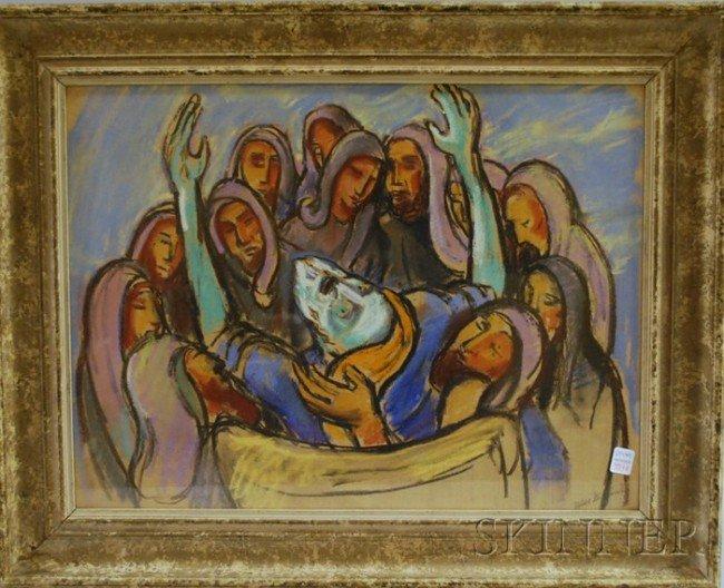 357A: Jakob Steinhardt (Israeli, 1887-1968) Job. Signed