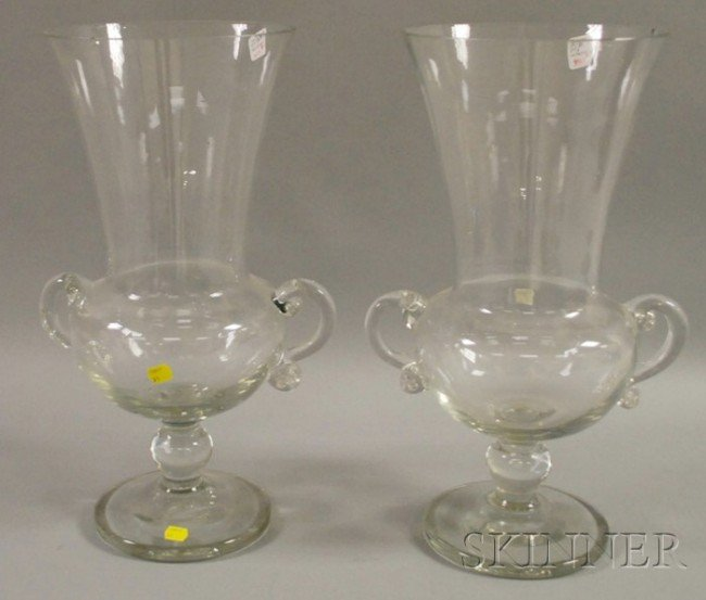501: Pair of Large Steuben Colorless Glass Footed Vases