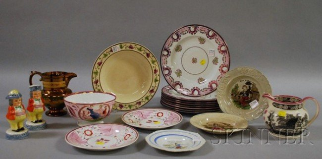512: Group of English Lustreware and Other Staffordshir