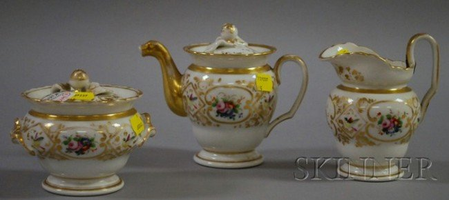 519: Three-piece Paris Porcelain Gilt and Hand-painted