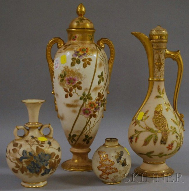 523: Four Royal Worcester and Royal Worcester-type Gilt