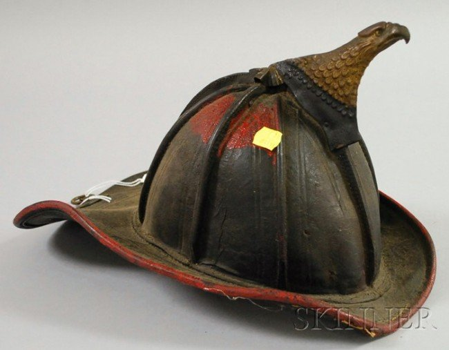 559: Painted Molded Leather Firefighter's Helmet with M
