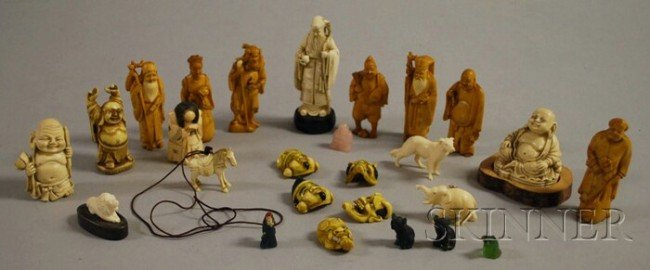 928: Sixteen Small Mostly Asian Carved Ivory Figures an