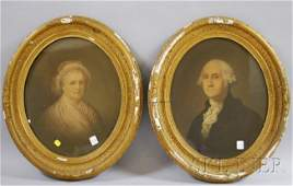 960 Framed Lithograph Portraits of George and Martha W