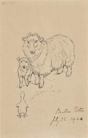 520: Beatrix Potter (British, 1866-1943) A Ewe and Lamb